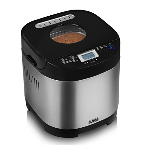 Tower T11001 Digital Bread Maker with Gluten Free Setting, Stainless Steel, 650 W, 0.9 Litre