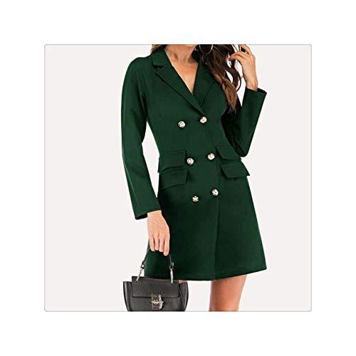 Fashion Sexy Women's Double Breasted Blazer Bandage Short Dress Solid Black Slim Long Sleeve V-Neck Work Office Mini Dress Robe Green XL - Double Breasted Knit Blazer
