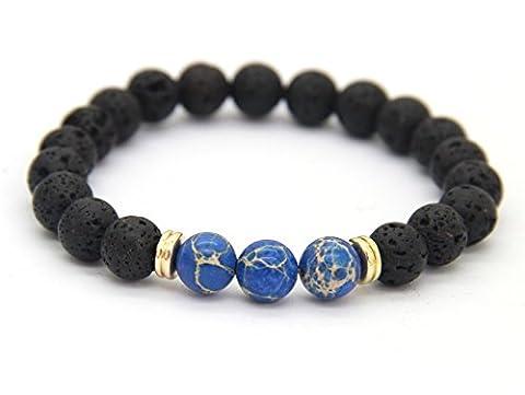 GOOD.designs Chakra-bracelet de perles d'énergie, Chakra-pendentif, Pierre Naturelle de Lave