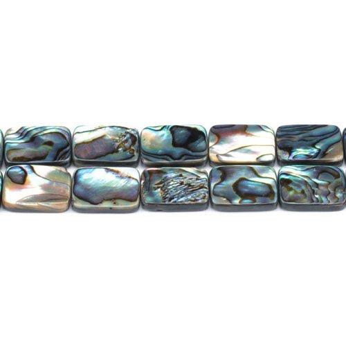 Charming Beads Paket 4 x Regenbogen Abalone Muschel 13 x 18mm Flach Rechteck Perlen GS1335-5