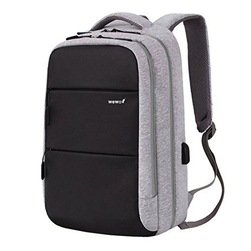 wewo Zaino porta pc 15.6 Pollici Uomo Lavoro Zaini Scuola Antifurto Donna Daypack Nylon Backpack con Porta USB zaino viaggio impermeabile (Grigio)