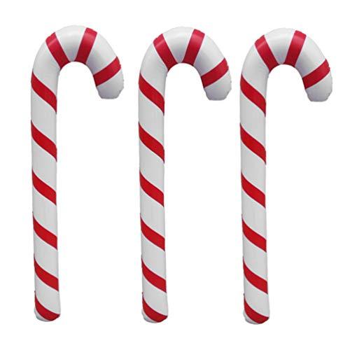 NUOBESTY 3pcs 87cm Bastones inflables de Navidad patrón de Rayas Creativas muletas de Globos Decorativos Suministros para Fiestas (Rojo y Blanco)