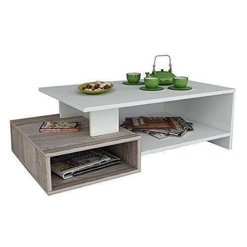 DUX Tavolino basso da salotto - Bianco / Avola - materiale in legno - Tavolino da divano - Tavolino da Caffè moderno in un design alla moda con mensola
