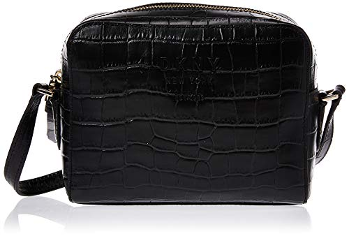 DKNY sac photo en cuir noir noho moc croc Black Leather