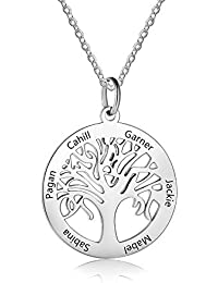 Grand Made Collar de Plata Personalizado con 6 Nombres con Colgante de árbol de la Vida con Regalo Grabado para la Abuela para Mujer para Mujer joyería Familiar
