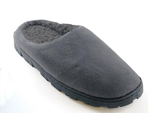 Herren Polysuede Weich Fleece Gefütterte Hausschuhe - Grau oder schwarz - Schwarz, UK 9 (EU 43) grau
