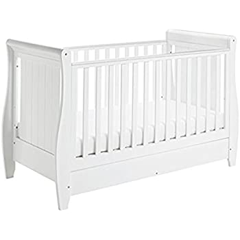 Babymore Stella Sleigh Dropside Cot Bed with Drawer (White)