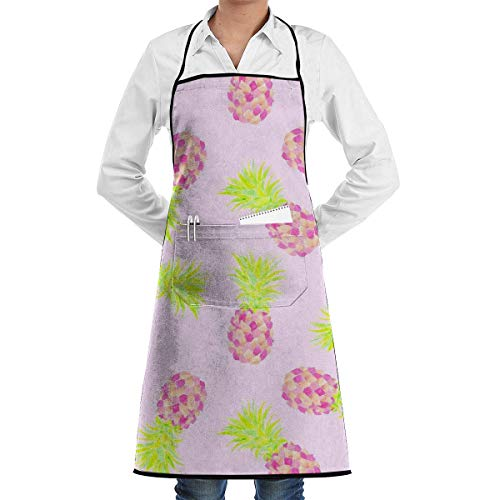 Pink Pineapple Mini Adjustable Kitchen Chef Apron with Pocket & Extra-Long Ties,Men & Women Bib Apron Cute Apron for Cooking,Baking,Crafting,Gardening,BBQ Mens Chef Apron Mini Mens Tie