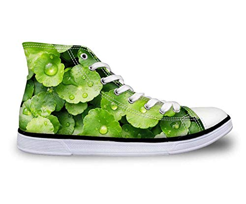 Ladies Green Leafs Fashion Canvas Shoes Casual Walking Sneakers Hi Tops Pumps Fashion CC2082AK UK 6