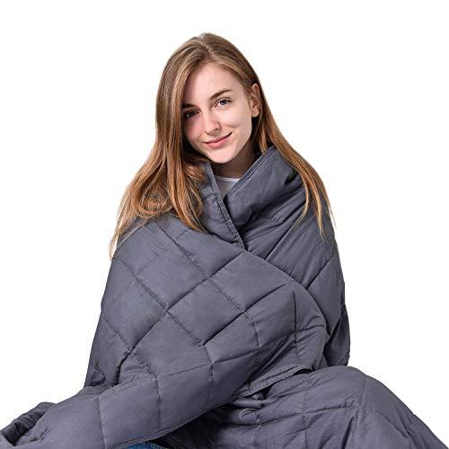 Leefun Gewichtsdecke   Schwere Decke für Erwachsene und Kinder   Gegen Schlafstörung und Stress Therapiedecke, Weighted Blanket für 70-90kg Personen (150x200cm,9.1kg)