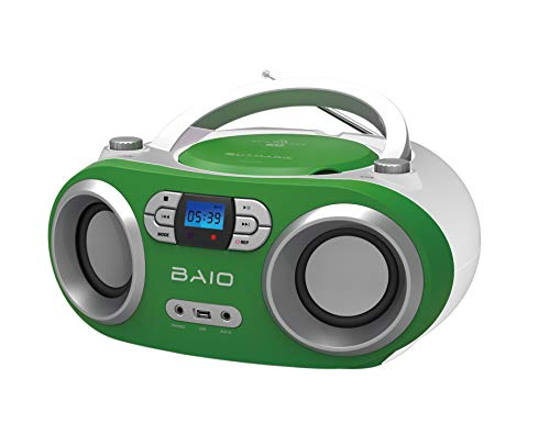 OUTMARK BAIO TRAGBARER CD-Radio-Bluetooth-Player | USB | AUX-IN | MP3 | Fernbedienung | LCD-Display MIT Blauer Beleuchtung | FM-Radio | KOPFHÖRERANSCHLUSS | 2 x 1,5W RMS | Boombox | (Green) - Fernbedienung Cd-player