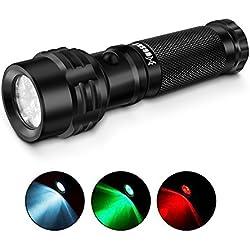 Paragala Exterior Handhled Tácticos Linternas IPX7 Impermeable Rojo / Verde / LED De Luz Blanca De La Linterna Para La Pesca Caza Caminar Detector De Lectura