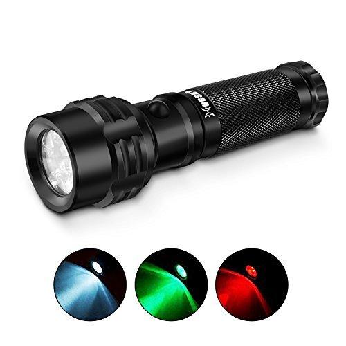Paragala Außen Handhled Tactical Taschenlampen IPX7 Wasserdicht Rot / Grün / Weißlicht LED Taschenlampen Fackel für die Jagd Fischen Wandern Lesen Detector