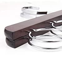 BSJY Scarf Holder - 5 Loop Scarf Organiser - Wardrobe Organiser for Scarves and Shawls or Belts - Ideal as Scarf Holder and Shawl Organiser - Chrome-Yellow