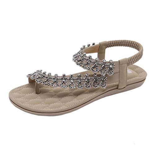 VJGOAL Damen Sandalen, Frauen Mädchen böhmischen Mode Flache beiläufige Sandalen Strand Sommer Flache Schuhe Frau Geschenk (42 EU, Y-Khaki) (Freizeitschuhe Italienische)