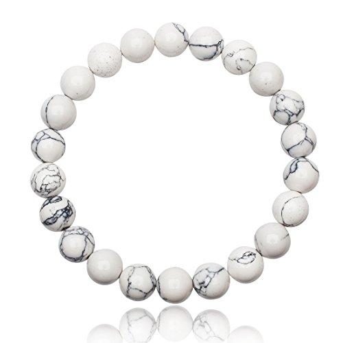 Unique Perlen Armband Unisex echter weißer Türkis mit 8mm Grade AAA Perlen dehnbar one Size fits All 16cm bis 20cm