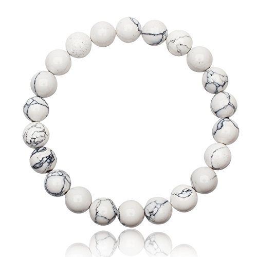 Unique Perlen Armband Unisex echter weißer Türkis mit 8mm Grade AAA Perlen dehnbar one Size fits All 16cm bis 20cm - Armband Türkis-perlen Mit