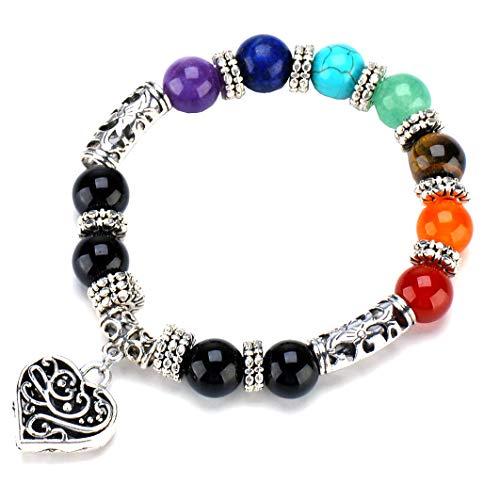 10 mm Bunte Perlen 7 Chakra Armband Yoga Balance Healing Silber Herz Armbänder für Frau Mädchen (Mall Perlen Armband Frauen)