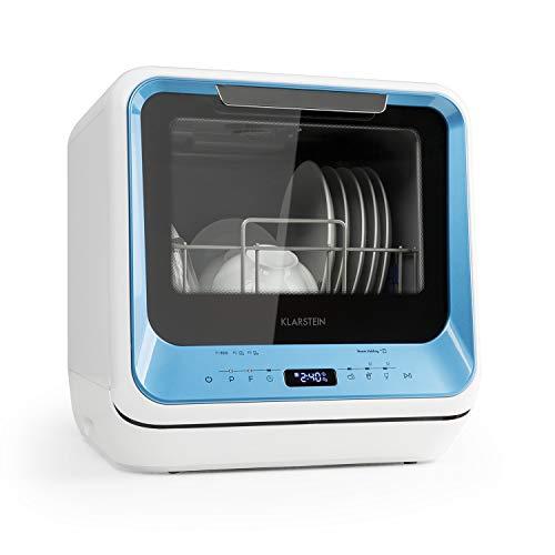 Klarstein Amazonia Mini Spülmaschine Geschirrspüler Geschirrspülmaschine (EEC: A, Platz für 2 Maßgedecke, 6 Programme, 5 Liter Wasser benötigt, LED-Display, Touch, inkl. Zubehör) blau
