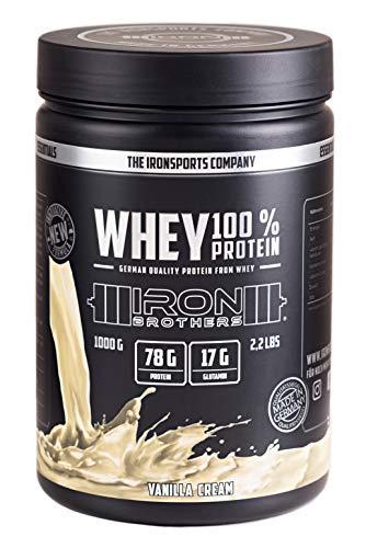 IRON BROTHERS® - WHEY 100% PROTEIN | Low Carb Eiweißpulver aus Whey Protein Konzentrat | Deutscher Molke Protein Shake +L-Glutamin & Aminosäuren | 1000g Dose | MADE IN GERMANY (Vanilla Cream)