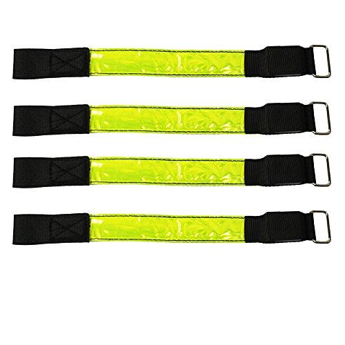 com-four 4x Klettbänder mit Reflektor-Streifen - sicher, kompakt und leicht (04-teiliges Set - Klettbänder 28 cm) (Bein Strip)