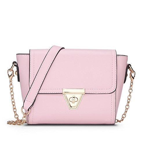 LDMB Damen-handtaschen Frauen PU-lederne Verschluss-Wölbungs-Schulter-Kurier-Beutel-feste Farben-Hochschulwindketten-Beutel-Crossbody Beutel Pink