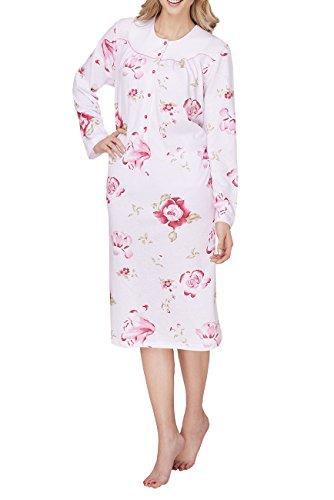 Cybele Damen Nachthemd langarm mit Knopfleiste Gr. 46 Sleepshirt Nachtwäsche (Rote Damen Sleep-pant)