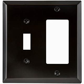 Amerelle 163TRDB Traditional Steel Wallplate with 1 Toggle/1 Rocker, Aged Bronze