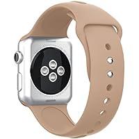 SUPORE Kompatibel für Apple Watch Armband 38/42mm, Weiches Silikon Ersatz Sport Armband Handschlaufe mit Schnalle Verschluss für iWatch Sport Band Serie 3/2/1