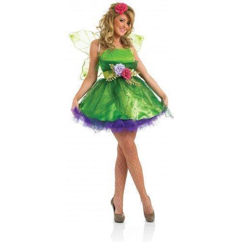 (Damen Fee Nymphe Elfe Halloween Kostüm Outfit UK 6-26 Übergröße - Grün, UK 12-14)
