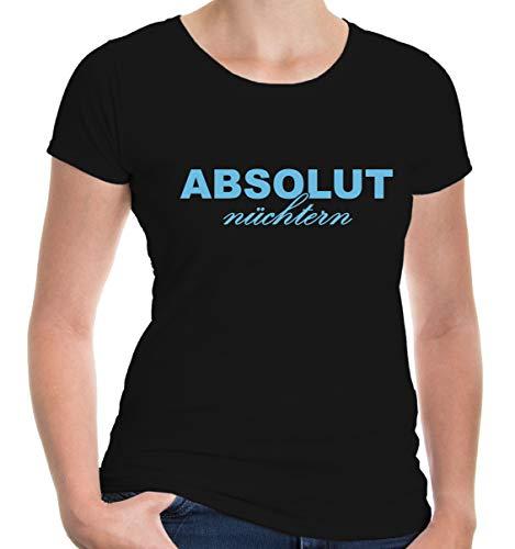 buXsbaum® Damen Girlie T-Shirt Absolut nüchtern Party Feiern | M, Schwarz