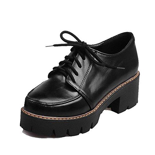 AllhqFashion Damen Rein Schnüren Weiches Material Rund Zehe Pumps Schuhe Schwarz