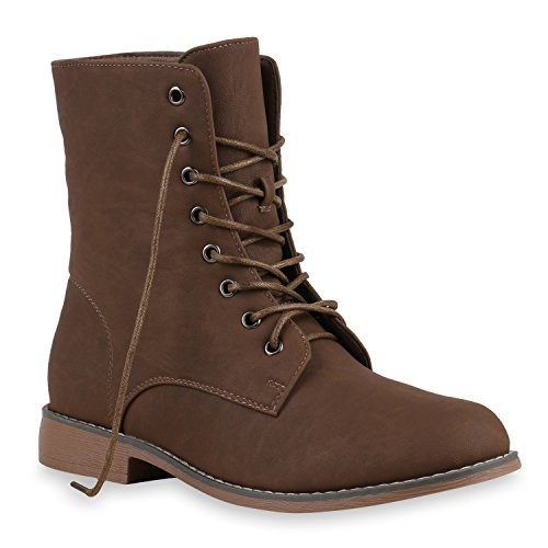 Gefütterte Damen Stiefeletten Stiefel Worker Boots Schuhe Braun
