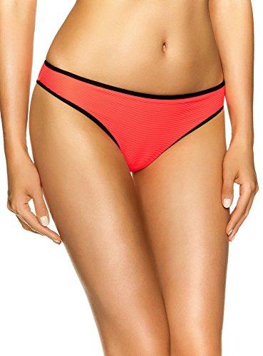 oodji Ultra Damen Bikinihose mit Kontrastpaspelierung, Orange, DE 34 / EU 36 / XS
