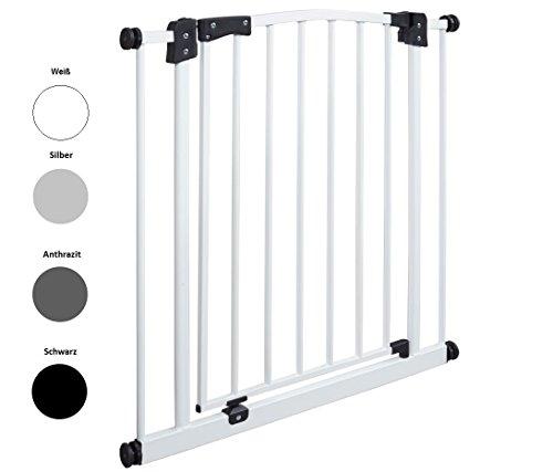 Impag Türschutzgitter Treppenschutzgitter 62 - 222 cm selbstschließend - zum Klemmen - ohne Bohren Swing + 20 Weiß