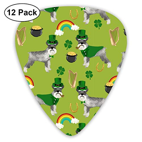 Schnauzer Leprechaun - Dog St Patricks Day Rainbow Pot Of Gold Design - Lime Classic Celluloid Picks, 12-Pack, For Electric Guitar, Acoustic Guitar, Mandolin, And Bass -
