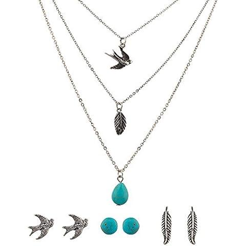 Lux accessori turchese foglia Uccello Colomba multiple collana e orecchini set
