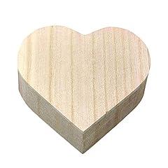 Idea Regalo - Kentop, scatola in legno a forma di cuore, con coperchio, ideale come portagioie, scatola regalo da dipingere, perfetta per il fai da te