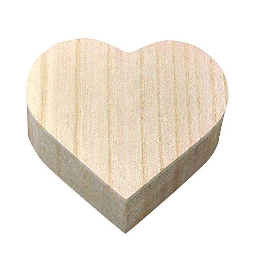 Kentop Corazón Caja Madera Tapa Guardar Joyas Madera