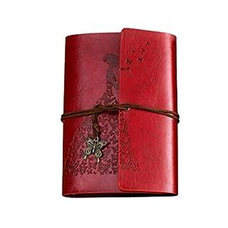 Amcool Tragbare klassische Kraft Strap Notebook Schmetterling Tagebuch Buch Rot