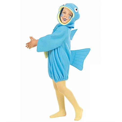 Amakando Fischkostüm Kinderkostüm Fisch S 116 4-5 Jahre Kostüm Fisch Fasching Unterwasserwelt Tierkostüme Kinder Kinderfasching Kostüme Karneval
