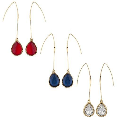 Lux accessori 4luglio rosso, bianco e blu a goccia Filo di multi orecchini set di 3