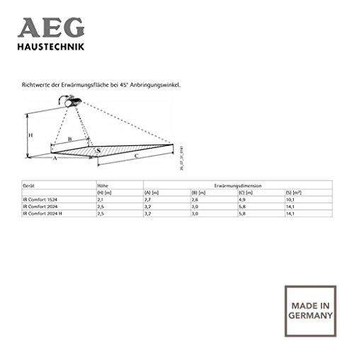 AEG Kurzwellen-Heizstrahler IR Comfort 2024 H mit Hirschmannstecker, 2000 W, hocheffiziente Qualitäts-Goldröhre, 229955 - 4