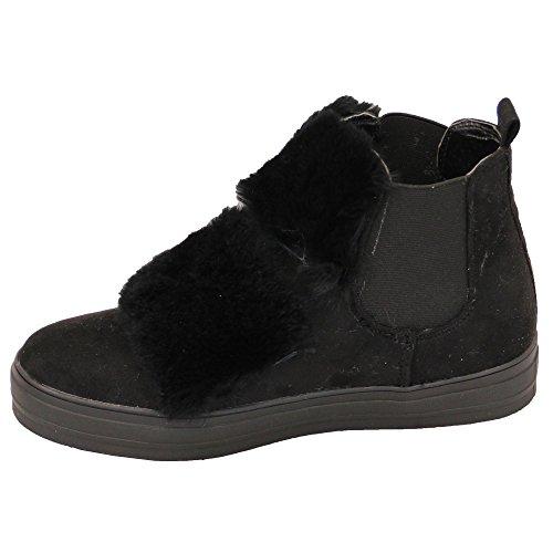 Pour Femmes Daim Plat Fourrue Baskets Femmes Chaussures Montant Cheville À Enfiler Baskets Doublé New Noir - 16063
