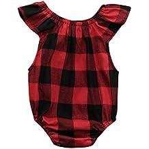 Mameluco Bebé, Amlaiworld Recién nacidos niños niñas bebés ropa sin mangas mameluco a cuadros Pijama de mono (Rojo, Tamaño:3-6Mes)