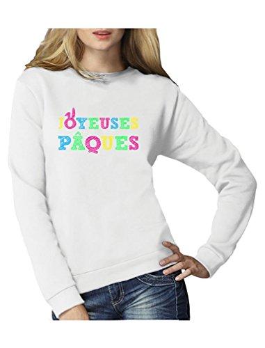 Joyeuses Pâques colorées!! Sweatshirt Femme Blanc