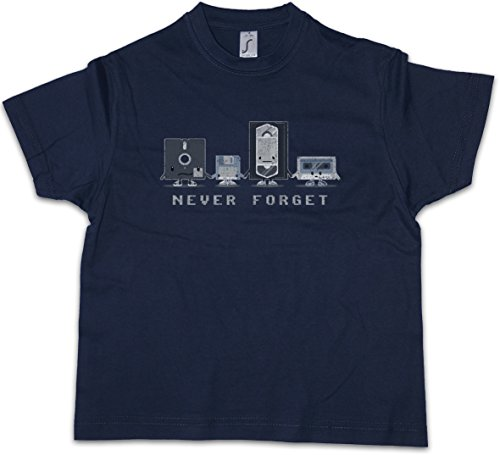 Never Forget Niños Chicos Kids T-Shirt Retro Media VHS Video Cassette Floppy Disk Discette Diskette CD Audio Joke Comedy Nerd Hipster Indie