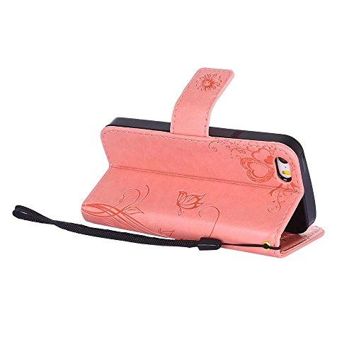 Custodia in pelle per iPhone SE,per iPhone 5S,per iPhone 5 Cover, Zcro Stile Elegante di Cuoio Magnetica Flip del Libro Fiori Farfalla Custodia Portafoglio Case con Titolare della Carta Cinturino Nero Rosa