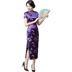 TTDRESS Women's Long Dress Vestido de Boda Chino Largo de Las Mujeres Cheongsam Qipao Retro Flor de Impresión Largo, Varios Colores, Purple, 2XL