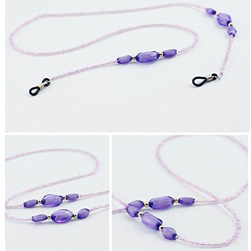 Viola antiscivolo vetro catena Bohemia stile decorativo perline catena occhiali fermo collo Corda con anelli in gomma nera
